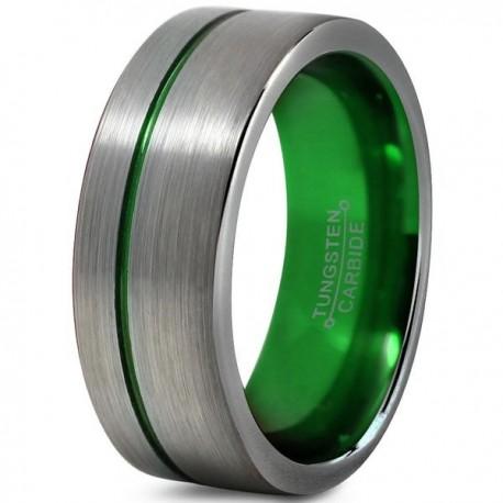 Вольфрамовое Матовое Обручальное (свадебное) кольцо 8мм (мужское, женское) со смещенной зеленой линией