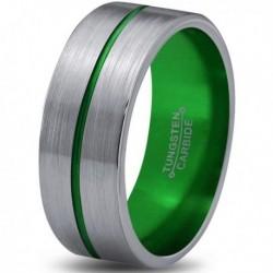 Вольфрамовое Матовое Обручальное (свадебное) кольцо 8мм (мужское, женское) с зеленой линией по центру