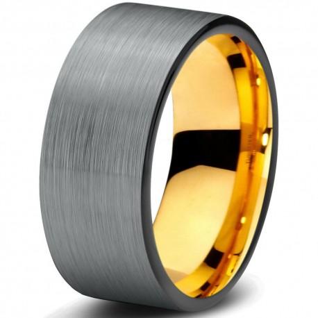 Вольфрамовое Матовое Обручальное (свадебное) кольцо 8мм (мужское, женское) с покрытием 18к желтым золотом