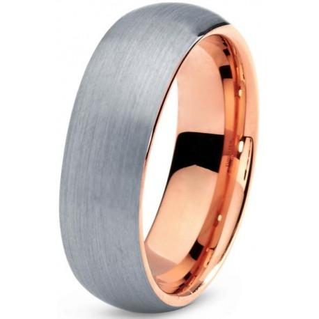 Вольфрамовое Обручальное (свадебное) кольцо 8 мм с покрытием 18к розовым золотом