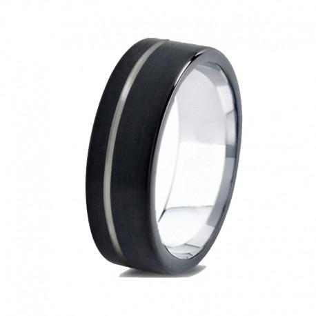 Вольфрамовое Матовое Обручальное (свадебное) кольцо 6мм (мужское, женское) черное со смещенной линией