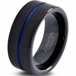 Вольфрамовое Матовое Обручальное (свадебное) кольцо 8мм (мужское, женское) черно синее , линия по центру CC3010-A