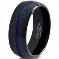 Вольфрамовое Матовое Обручальное (свадебное) кольцо 8мм (мужское, женское) черно синее , линия по центру CC3012-A