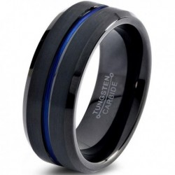 Вольфрамовое Матовое Обручальное (свадебное) кольцо 8мм (мужское, женское) черно синее CC3030-A