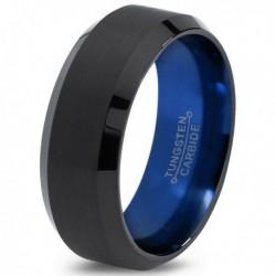 Вольфрамовое Матовое Обручальное (свадебное) кольцо 8мм (мужское, женское) черно синее CC962-C14-A