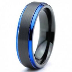 Вольфрамовое Матовое Обручальное (свадебное) кольцо 6мм (мужское, женское) черно синее CC3025-A