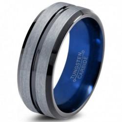 Вольфрамовое Матовое Обручальное (свадебное) кольцо 8мм (мужское, женское) синее внутри CC958-C14-A