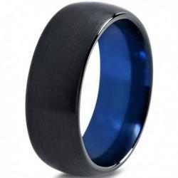Вольфрамовое Матовое Обручальное (свадебное) кольцо 8мм (мужское, женское) черно синее CC231-C14-A