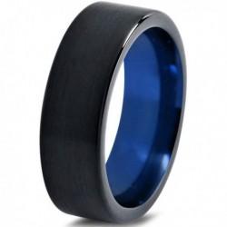 Вольфрамовое Матовое Обручальное (свадебное) кольцо 6мм (мужское, женское) черно синее CC1444-C14-A