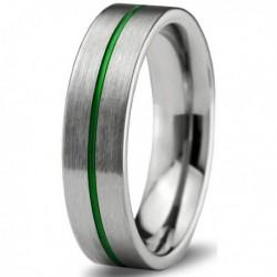 Вольфрамовое Матовое Обручальное (свадебное) кольцо 6мм (мужское, женское), зеленая линия по центру CC900-C8-A
