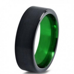 Вольфрамовое Матовое Обручальное (свадебное) кольцо 6мм (мужское, женское) черно зелёное CC1444-C8-A
