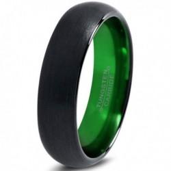 Вольфрамовое Матовое Обручальное (свадебное) кольцо 6мм (мужское, женское) черно зелёное CC906-C8-A