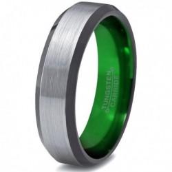 Вольфрамовое Матовое Обручальное (свадебное) кольцо 6мм (мужское, женское), зеленое внутри CC978-C8-A