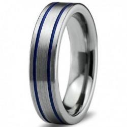 Вольфрамовое Матовое Обручальное (свадебное) кольцо 6мм (мужское, женское) с двойной синей линией CC901-C14-A