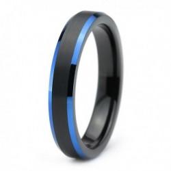 Вольфрамовое Матовое Обручальное (свадебное) кольцо 4мм (мужское, женское) черно синее CC3033-A