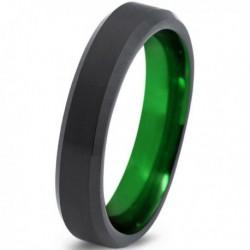 Вольфрамовое Матовое Обручальное (свадебное) кольцо 4мм (мужское, женское) черно зелёное CC1577-C8-A