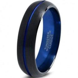 Вольфрамовое Матовое Обручальное (свадебное) кольцо 4мм (мужское, женское) черно синее CJ8804-A