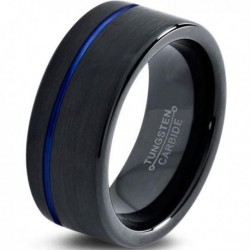 Вольфрамовое Матовое Обручальное (свадебное) кольцо 10мм (мужское, женское) черное с синей линией CC3005-A