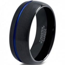 Вольфрамовое Матовое Обручальное (свадебное) кольцо 10мм (мужское, женское) черное с синей линией CC3014-A