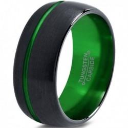 Вольфрамовое Матовое Обручальное (свадебное) кольцо 10мм (мужское, женское) черно зелёное, со смещенной линией CJ8823-A
