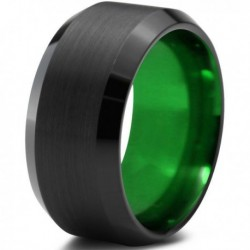 Вольфрамовое Матовое Обручальное (свадебное) кольцо 10мм (мужское, женское) черно зелёное CC378-C8-A