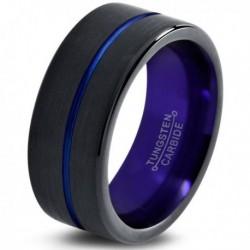 Вольфрамовое Матовое Обручальное (свадебное) кольцо 10мм (мужское, женское) черно фиолетовое CC1322-C600-A