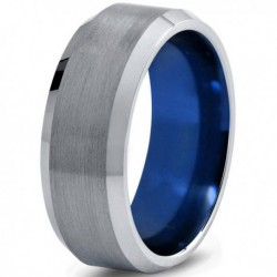 Вольфрамовое Матовое Обручальное (свадебное) кольцо 8мм (мужское, женское)  CC7018-C14-A