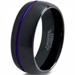 Вольфрамовое Матовое Обручальное (свадебное) кольцо 10мм (мужское, женское) с фиолетовой линией CC2038-A