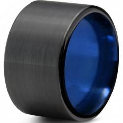 Вольфрамовое Матовое Обручальное (свадебное) кольцо 12мм (мужское, женское) черно синее CC360-C14-A
