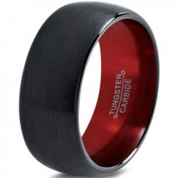 Вольфрамовое Черное Матовое Обручальное (свадебное) кольцо 10мм (мужское, женское), черно красное CJ8842-A
