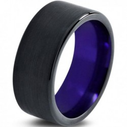 Вольфрамовое Матовое Обручальное (свадебное) кольцо 10мм (мужское, женское) черно фиолетовое CC230-C600-A