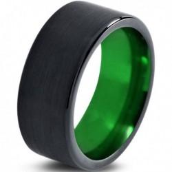 Вольфрамовое Матовое Обручальное (свадебное) кольцо 10мм (мужское, женское) черно зелёное CC230-C8-A