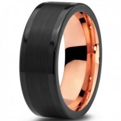 Вольфрамовое Матовое Черное Обручальное (свадебное) кольцо 8мм (мужское, женское) с покрытием 18к розовым золотом CJ704-8-A