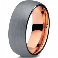 Вольфрамовое Матовое Обручальное (свадебное) кольцо 8мм (мужское, женское) с покрытием 18к розовым золотом CJ705-B-8-A