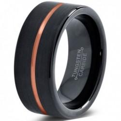 Вольфрамовое Матовое Черное Обручальное (свадебное) кольцо 8мм (мужское, женское) с покрытием 18к розовым золотом CJ714-8-A