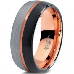 Вольфрамовое Матовое Обручальное (свадебное) кольцо 8мм (мужское, женское) с покрытием 18к розовым золотом CJ716-B-H-8-A