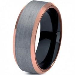 Вольфрамовое Матовое Обручальное (свадебное) кольцо 8мм (мужское, женское) с покрытием 18к розовым золотом CJ707-B-8-A
