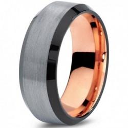 Вольфрамовое Матовое Обручальное (свадебное) кольцо 8мм (мужское, женское) с покрытием 18к розовым золотом CJ708-B-8-A