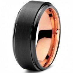 Вольфрамовое Матовое Черное Обручальное (свадебное) кольцо 8мм (мужское, женское) с покрытием 18к розовым золотом CJ700-8-A