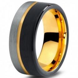 Вольфрамовое Матовое Обручальное (свадебное) кольцо 8мм (мужское, женское) с покрытием из желтого золота CJ709-Y-B-H-9-A