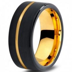 Вольфрамовое Черное Матовое Обручальное (свадебное) кольцо 8 мм (мужское, женское) с покрытием из желтого золота CJ709-Y-9-A