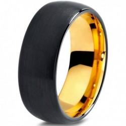 Вольфрамовое Черное Матовое 8мм Свадебное (Обручальное) кольцо CJ705-Y-8-A