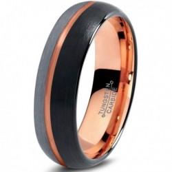 Вольфрамовое Матовое Обручальное (свадебное) кольцо 6мм (мужское, женское) с покрытием 18к розовым золотом CJ715-B-H-6-A