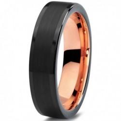 Вольфрамовое Матовое Обручальное (свадебное) кольцо 6мм (мужское, женское) с покрытием 18к розовым золотом CJ704-6-A