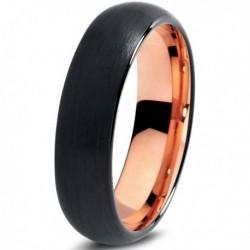 Вольфрамовое Черное Матовое Обручальное (свадебное) кольцо 6мм (мужское, женское) с покрытием 18к розовым золотом CJ705-6-A
