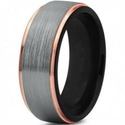 Вольфрамовое Матовое Обручальное кольцо 8мм (мужское, женское) с покрытием 18к розовым золотом CJ702-B-8-A