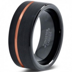 Вольфрамовое Матовое Черное Обручальное кольцо 8мм (мужское, женское) с покрытием 18к розовым золотом CJ713-8-A
