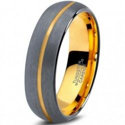 Вольфрамовое Матовое Обручальное кольцо 6мм (мужское, женское) с покрытием из желтого золота, линия по центру CJ716-Y-B-6-A