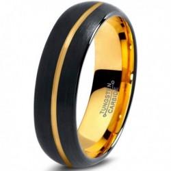 Вольфрамовое Матовое Обручальное кольцо 6мм (мужское, женское) с покрытием из желтого золота, линия по центру CJ716-Y-6-A