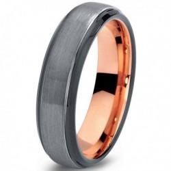 Вольфрамовое Матовое Обручальное (свадебное) кольцо 6мм (мужское, женское) с покрытием 18к розовым золотом CJ700-B-6